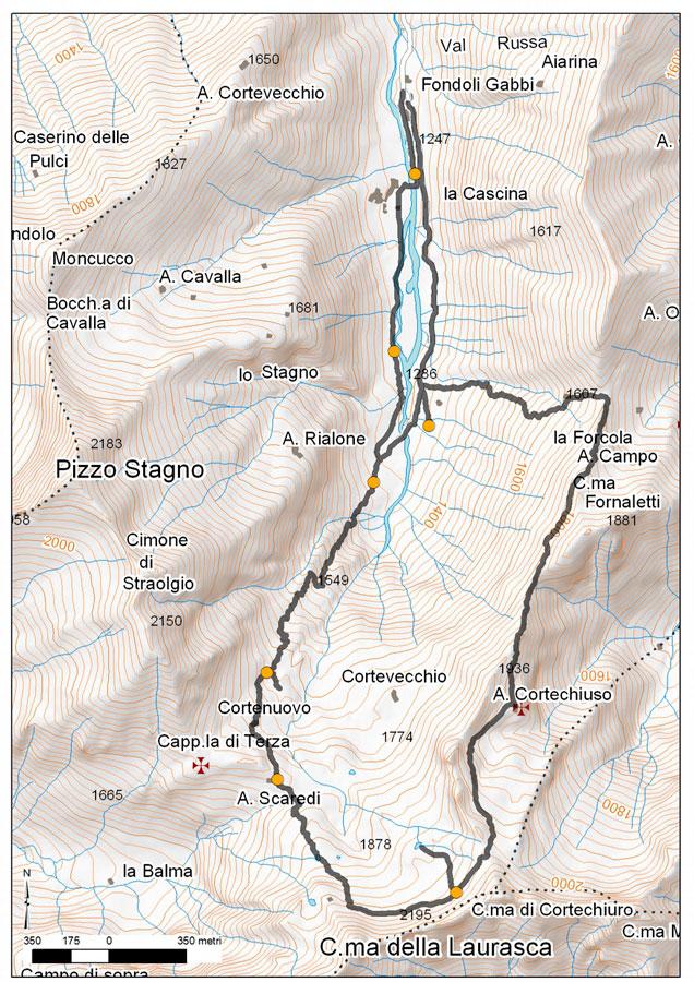 mappa percorso geoturistico in Val Loana